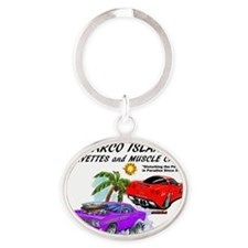 marco island corvettes and muscle ca Oval Keychain