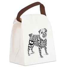 Pug Typography Canvas Lunch Bag