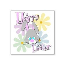 "Easter Bunny and Flowers Square Sticker 3"" x 3"""
