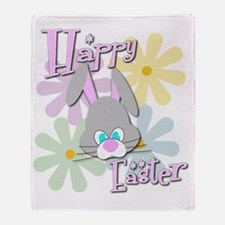 Easter Bunny and Flowers Throw Blanket