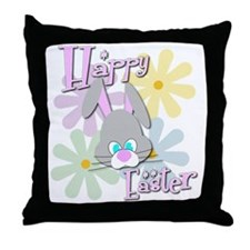 Easter Bunny and Flowers Throw Pillow
