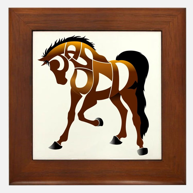 jasper brown horse Framed Tile