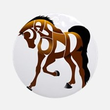 jasper brown horse Round Ornament
