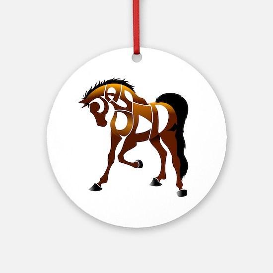 jasper brown horse Round Ornament