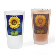 Solitary Sunflower Drinking Glass