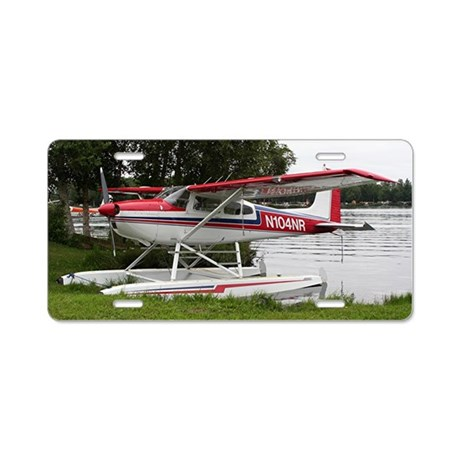 Cessna Float Plane Red Wh Aluminum License Plate By