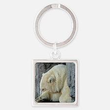 Central Park Zoo Polar Bear Square Keychain