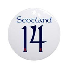 Scotland style large number 14 Round Ornament