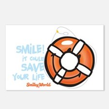 life ring smiley Postcards (Package of 8)