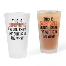 Supergirls casual shirt Drinking Glass