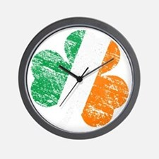 Vintage Distressed Irish Flag Shamrock Wall Clock