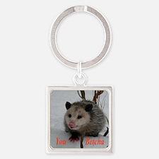 Basketball Possum Square Keychain