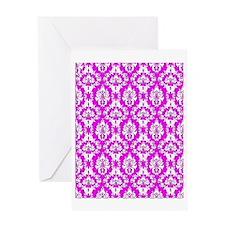 Pink Damask Greeting Card