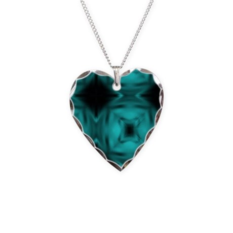 Black and Teal Design Necklace Heart Charm