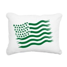 Irish American Flag - gr Rectangular Canvas Pillow