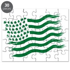 Irish American Flag - green Puzzle