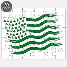 Irish American Flag - green Puzzle