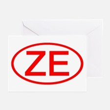 ZE Oval (Red) Greeting Cards (Pk of 10)