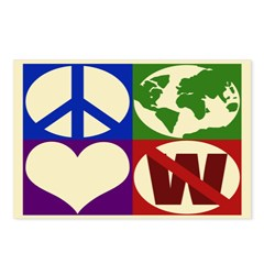 Peace, Earth, Love, Not W (8 Postcards)