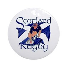 Scotland rugby player try design Round Ornament