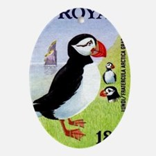 Vintage 1978 Faroe Islands Puffins P Oval Ornament
