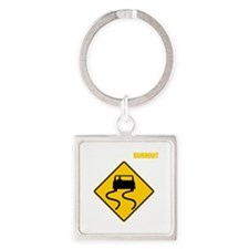 Burnout Traffic Sign 3 Square Keychain