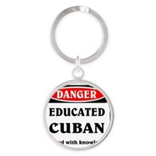 Educated Cuban Round Keychain