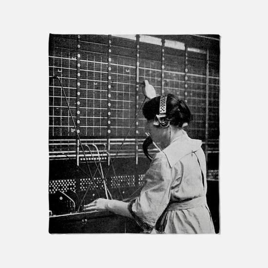 Telephone switchboard operator, 1914 Throw Blanket