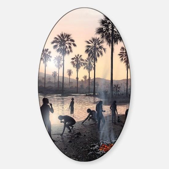 Early human settlement, artwork Sticker (Oval)