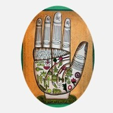 Indian palmistry map Oval Ornament