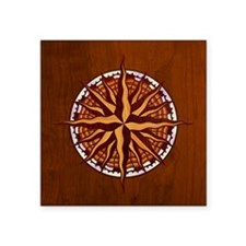"compass-inlay-TIL Square Sticker 3"" x 3"""