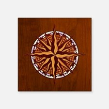 """compass-inlay-TIL Square Sticker 3"""" x 3"""""""