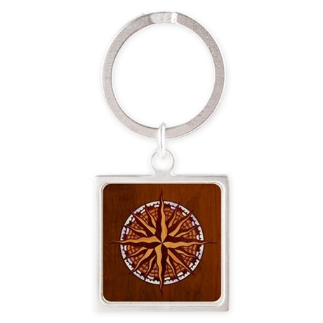 compass-inlay-TIL Square Keychain