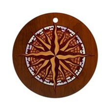 compass-inlay-TIL Round Ornament