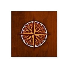 "compass-inlay-BUT Square Sticker 3"" x 3"""