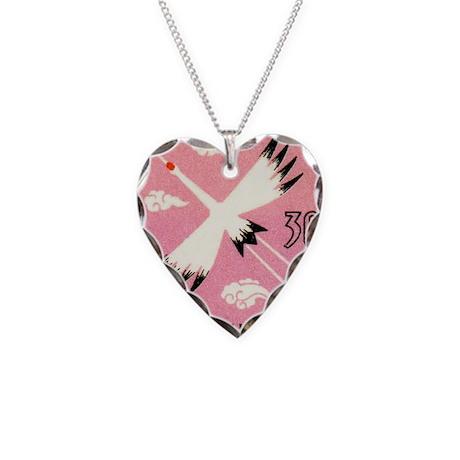 Vintage 1960 Korea Sandhill C Necklace Heart Charm