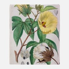 Pima cotton flowers, 19th century Throw Blanket