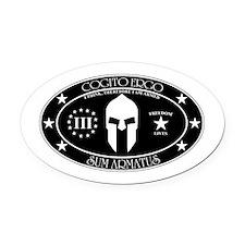 Armed Thinker - III B&W Oval Car Magnet