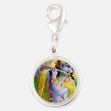 I Love you Krishna. Silver Round Charm