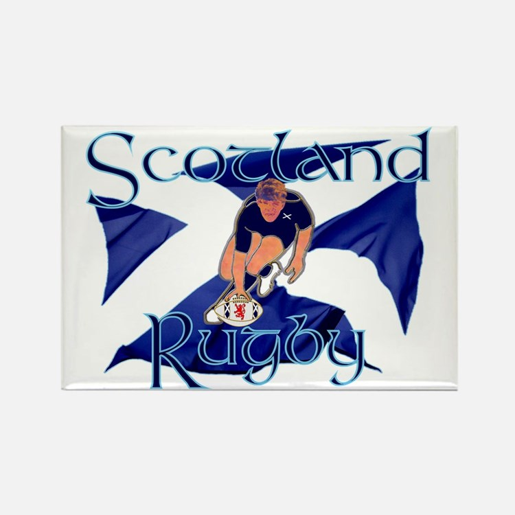 Scotland style rugby player try g Rectangle Magnet