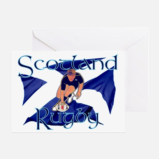 Scotland style rugby player try grap Greeting Card