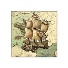 """Ancient Map Square Sticker 3"""" x 3"""""""