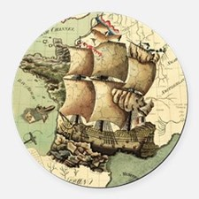 Ancient Map Round Car Magnet