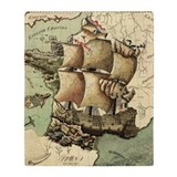 Ancient map ship Blankets
