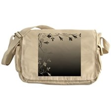 Black and White Floral Design Messenger Bag