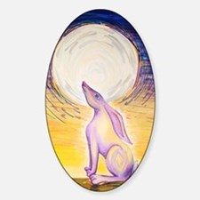 Moon Gazing Hare Sticker (Oval)
