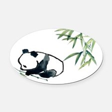 Panda and Bamboo Oval Car Magnet