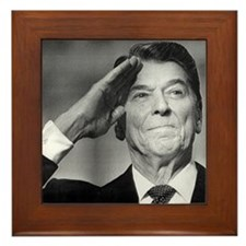 Ronald Reagan Salutes Framed Tile