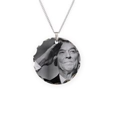 Ronald Reagan Salutes Necklace Circle Charm