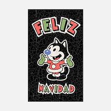 Feliz Navidad the Cat Sticker (Rectangle)